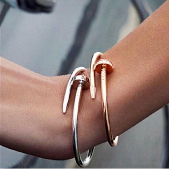 28676317b15 1 Oak Jewelry | Simple Stacked Band Gold Cuff Nail Bracelet Bangle ...